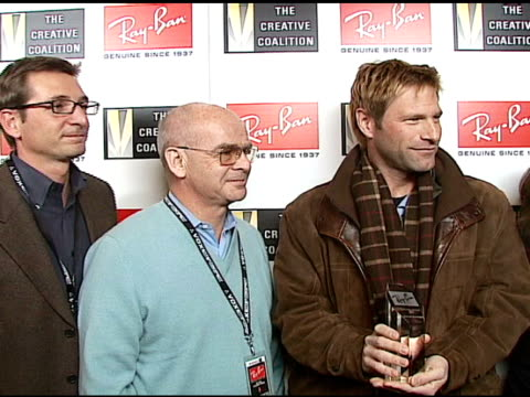 Vittorio Verdun Pierre Fay Aaron Eckhart and Robin Bronk at the 2007 RayBan Visionary Award In Association With The Creative Coalition at Harry O's...