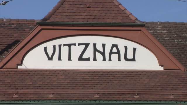 vitznau station. valley station of the vitznau rigi railway - western script stock videos & royalty-free footage