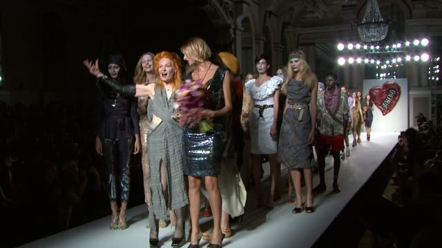 vivienne westwood and models on the runway. at the vivienne westwood red label: london fashion week s/s 2011 at london england. - fashion show stock videos & royalty-free footage
