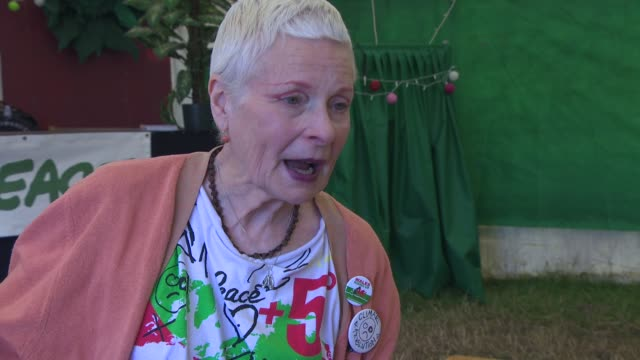 interview vivienne westwood on activism her first time at glastonbury designing the climate change tshirt at glastonbury festival site on june 27... - westwood stock-videos und b-roll-filmmaterial