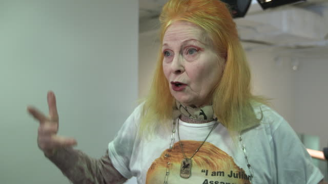 interview – vivienne westwood on julian assange at vivienne westwood red label a/w 2013 catwalk show on february 17 2013 in london england - westwood stock-videos und b-roll-filmmaterial