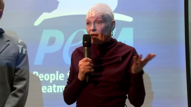 interview vivienne westwood on peta and benefits of being a vegetarian at celebrity sightings in london at on march 18 2014 in london england - westwood stock-videos und b-roll-filmmaterial