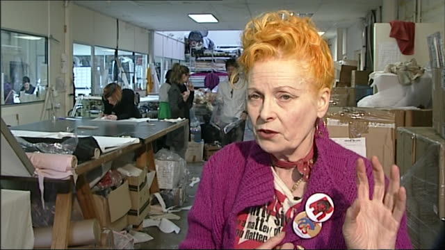 vivienne westwood saying 'you shouldn't buy too many [clothes], you should buy something that you really choose, that you really want..and you should... - interview raw footage stock videos & royalty-free footage
