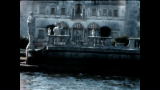 vizcaya museum gardens viewed from boat - miami dade county stock videos and b-roll footage
