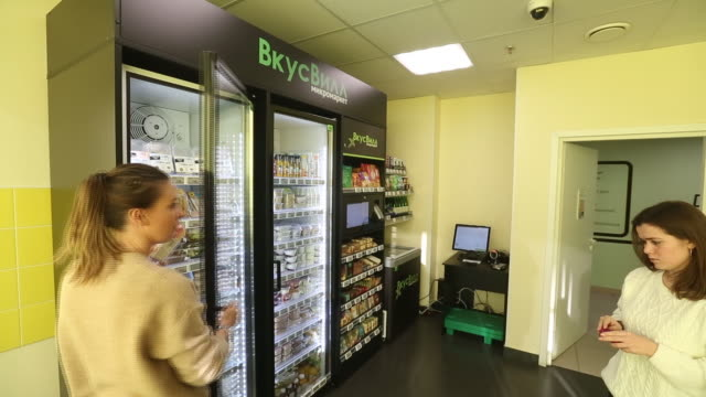 a vkusvill minimarket in an office in moscow russia on thursday november 21 2019 vkusvill is a fastgrowing food retailer in moscow and the moscow... - refrigerated section stock videos & royalty-free footage