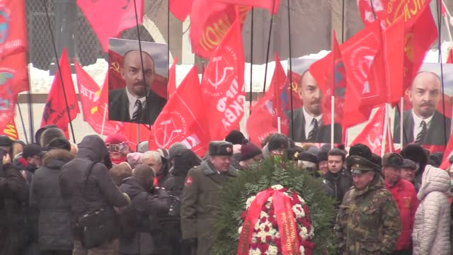 vladimir lenin, leader of the october revolution and founder of the soviet union, was commemorated on thursday in russian capital moscow on the 97th... - moscow russia stock videos & royalty-free footage