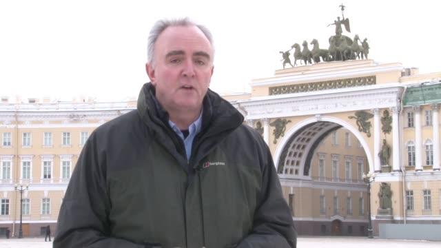 Vladimir Putin prepares for upcoming Russian election St Petersburg Palace Square Quadriga statue over Winter Palace gates Close shot antiPutin...