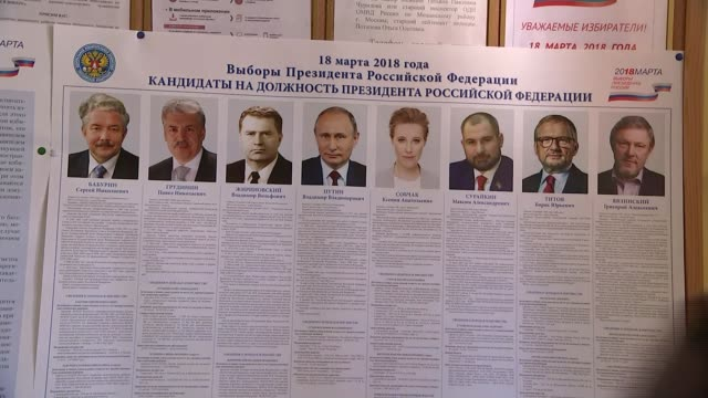 stockvideo's en b-roll-footage met vladimir putin wins presidential election poster showing presidential candidates close shot photograph of putin - kandidaat