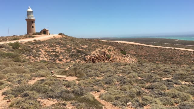 vlaming head lighthouse in exmouth western - ningaloo reef stock videos & royalty-free footage