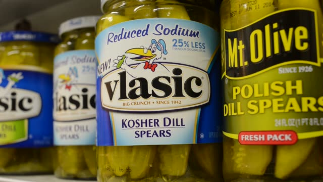 vlasic pickles duncan hines log cabin syrup pinnacle food products supermarket pinnacle food products on march 26 2013 in princeton il - pickled stock videos and b-roll footage