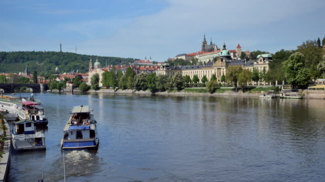 vltava river and castle district, prague - stare mesto stock videos & royalty-free footage