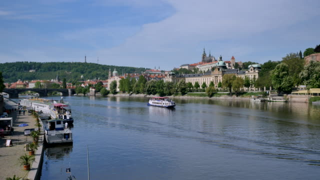 vltava river and castle district, prague - hradcany castle stock videos and b-roll footage