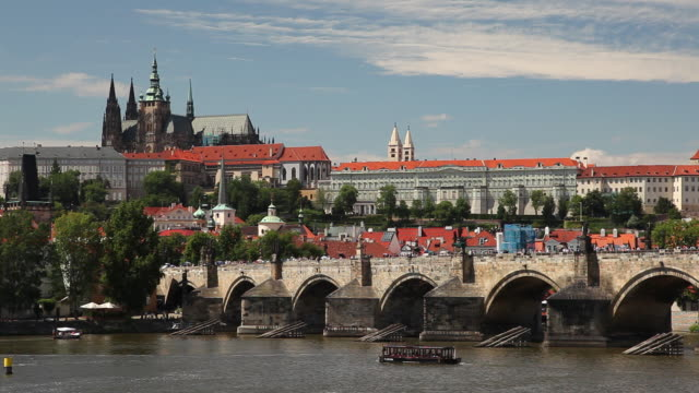 ws vltava river and hradcany castle/ prague, czech republic - hradcany castle stock videos and b-roll footage