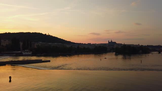 vltava river in prague at sunset - stare mesto stock videos & royalty-free footage
