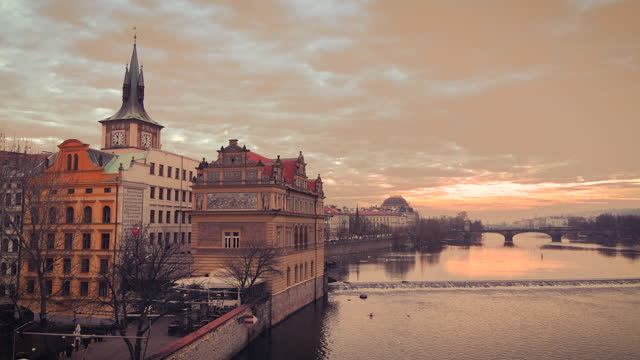 vltava river view from charles bridge - prague - stare mesto stock videos & royalty-free footage