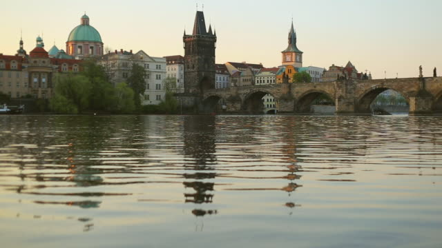 vltava river with prague old town and charles bridge - stare mesto stock videos & royalty-free footage