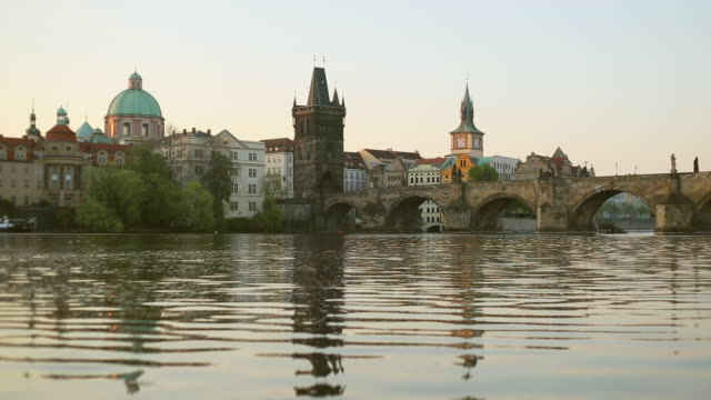 vltava river with prague old town and charles bridge - vltava river stock videos & royalty-free footage