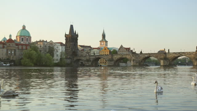 vltava river with prague old town and charles bridge - prague stock videos & royalty-free footage