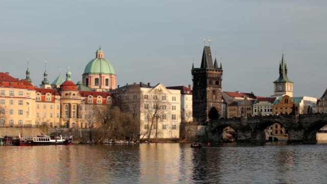 vltava riverside at sunset - river vltava stock videos & royalty-free footage