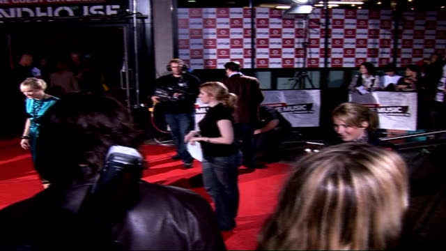 vodafone live music awards: celebrities on red carpet; actresses sarah cawood and holly willoughby, wearing yellow coat, posing for press on red... - jo whiley stock videos & royalty-free footage