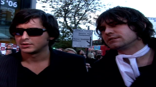 celebrities on red carpet dirty pretty things members arriving and along to speak to press / members of dirty pretty things gary powell anthony... - anthony powell stock videos & royalty-free footage