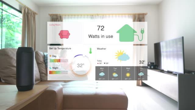 vídeos de stock, filmes e b-roll de comando de voz para automação residencial e tecnologia inteligente em casa - previsão