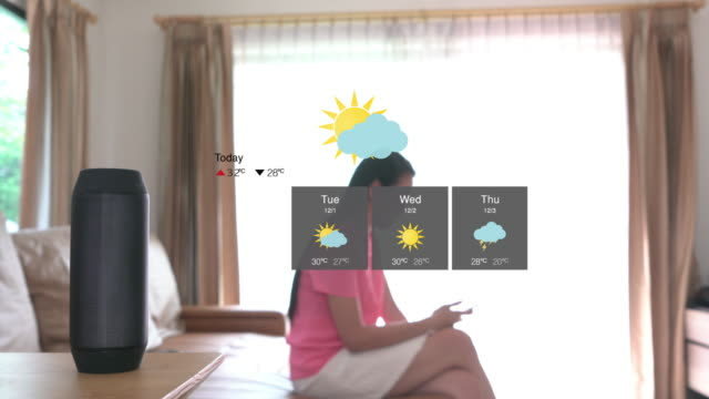 voice command for home automation and smart home technology - weather forecast - voice stock videos & royalty-free footage