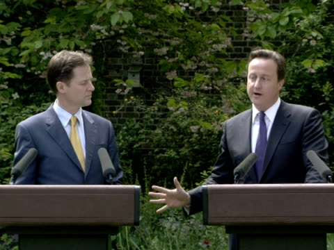 david cameron and nick clegg insist the first coalition government for 65 years will last heralding a new era of new politics.the prime minister and... - british liberal democratic party stock videos & royalty-free footage