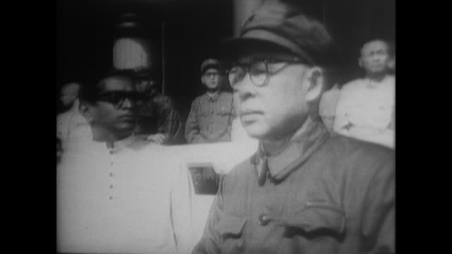 voiceover explains that it is national day and the cultural revolution has just begun in china as the camera focuses on premier zhou enlai general ye... - mao tse tung stock videos & royalty-free footage