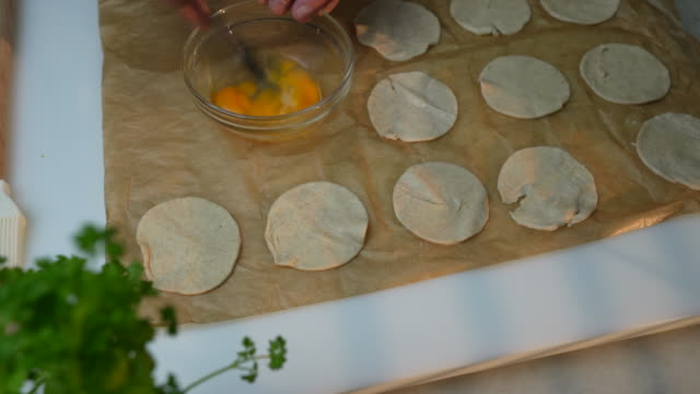 vol-au-vent puff pastry preparation - baking sheet stock videos & royalty-free footage
