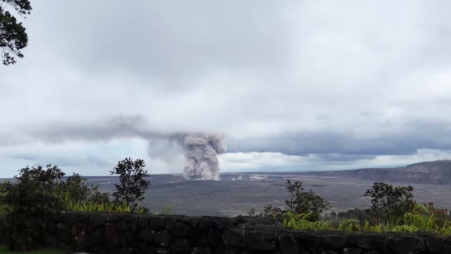 a volcanic ash and gas plume rises from the halemaumau crater at kilauea volcano during ongoing eruptions on hawaii's big island on may 9 2018 in... - volcanic crater stock videos & royalty-free footage