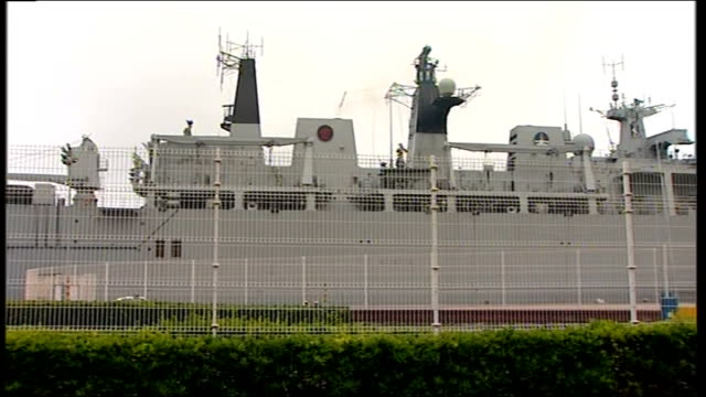 hms albion in santander spain santander port albion docked in port crew on deck - ash stock videos & royalty-free footage