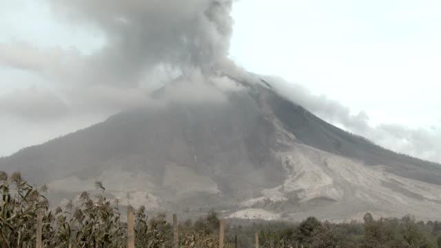 volcanic ash plume from active volcano mount sinabung - pyroklastischer strom stock-videos und b-roll-filmmaterial