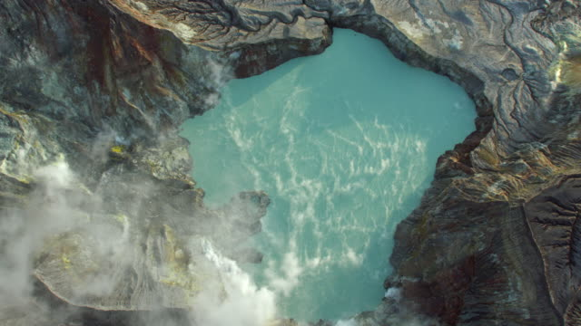 volcanic lake on white island - hot spring stock videos & royalty-free footage