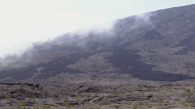 ws volcanic landscape with fog, reunion island - french overseas territory stock videos & royalty-free footage