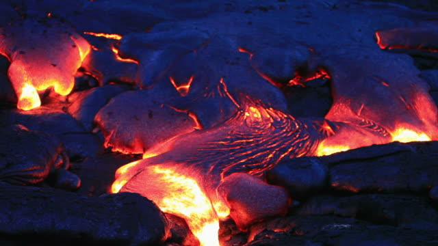 volcanic lava flowing at night - hawaii islands stock videos and b-roll footage