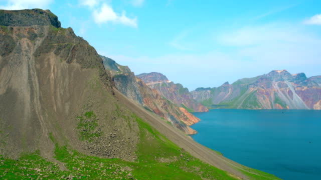 Volcanic rocky mountains and lake Tianchi, national park Changbaishan mountain, China