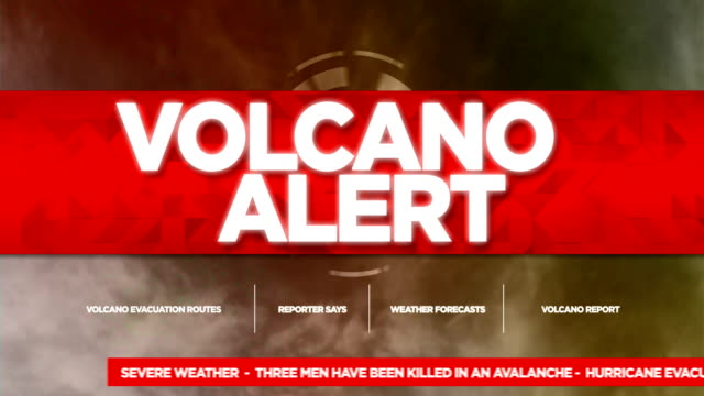 volcano alert broadcast tv graphics title - crisis stock videos & royalty-free footage