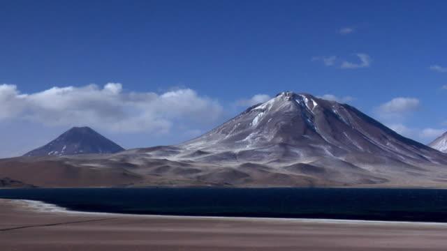 ws volcano and lake in desert landscape, san pedro de atacama, el loa, chile - san pedro de atacama stock videos & royalty-free footage