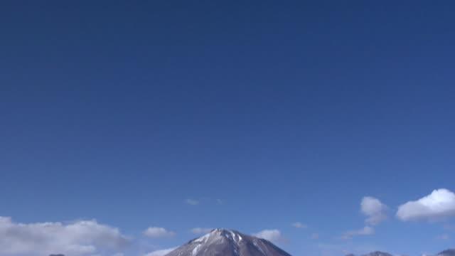 ws td volcano and lake in desert landscape, san pedro de atacama, el loa, chile - san pedro de atacama stock videos & royalty-free footage