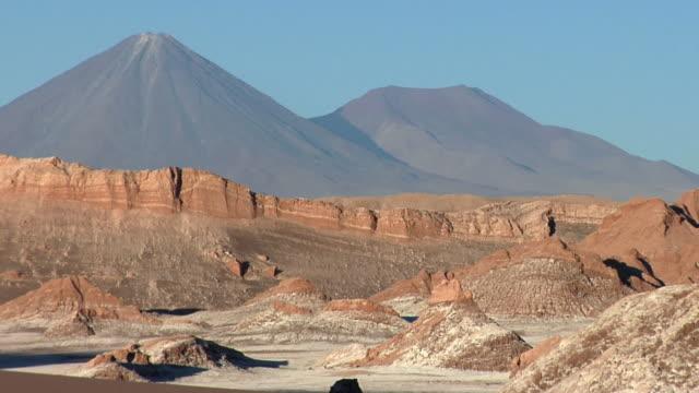 ws volcano and mountains in desert landscape, san pedro de atacama, el loa, chile - san pedro de atacama stock videos & royalty-free footage