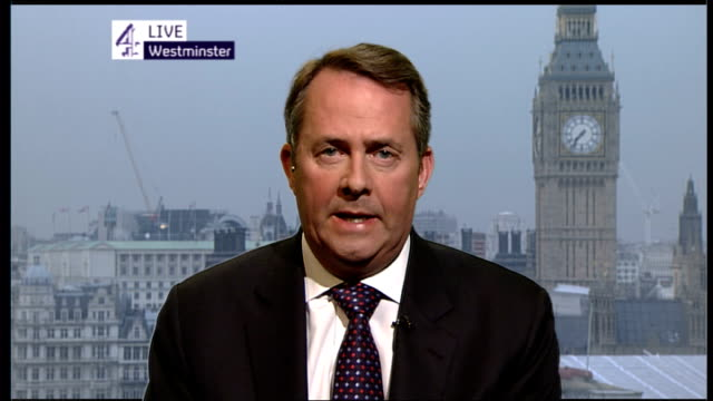volcano ash cloud prevents air travel for a 5th day britain's airports england london gir int liam fox live 2way interview from westminster sot ext... - cenere video stock e b–roll