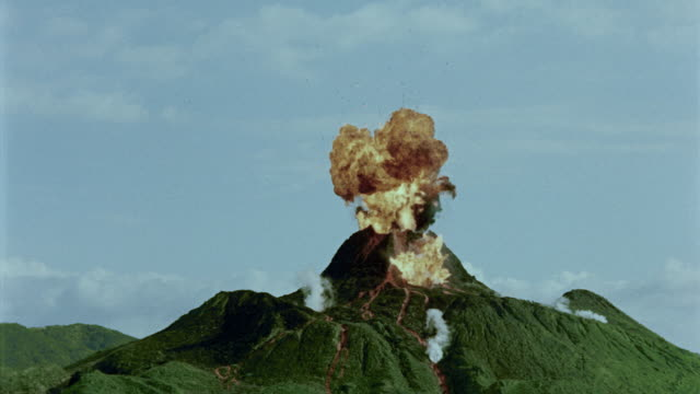 Volcano erupting / flames spurting out