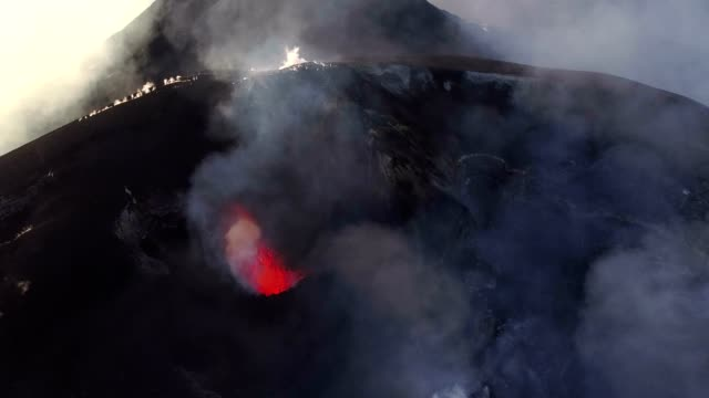 volcano etna - aerial shots - erupting stock videos & royalty-free footage