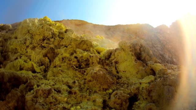 volcano in nisyros, greece - sulphur stock videos & royalty-free footage