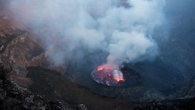 volcano nyiragongo in kongo - erupting stock videos and b-roll footage