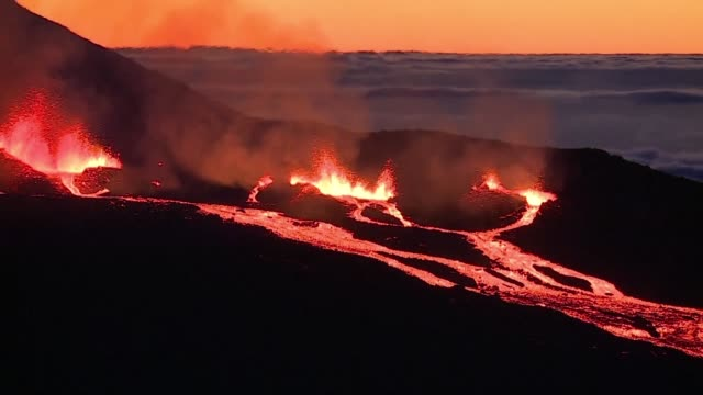 volcano on reunion island known as piton de la fournaise or the peak of the furnace began to erupt at 2350 gmt on friday night for the second time in... - réunion french overseas territory stock videos & royalty-free footage