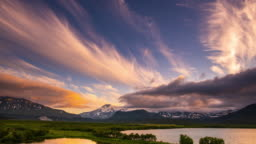 Volcanoes of Kamchatka at Sunrise
