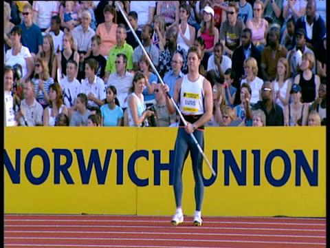 voldemars lusis , men's javelin, 2004 crystal palace athletics grand prix, london - javelin stock videos & royalty-free footage