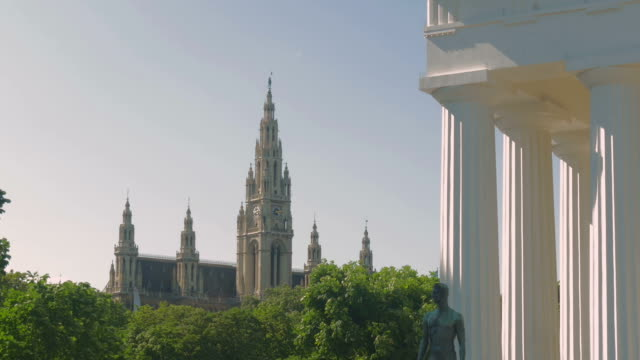 volksgarten.pan in to karlskirche.theseus temple - kirche stock videos and b-roll footage